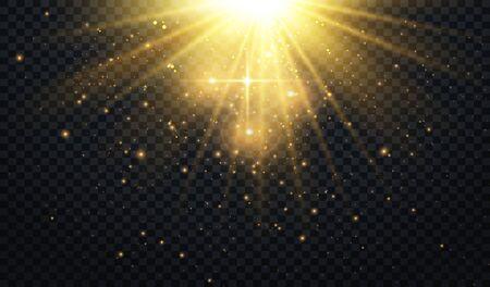 Abstract Light Overlay Effect on Transparent Background. Sparkles. Golden Sun Rays. Vector Illustration