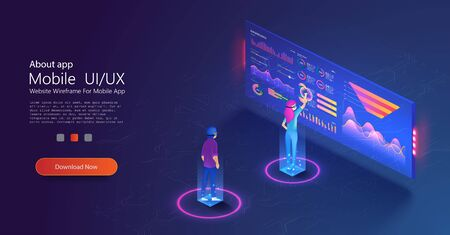 People work and interacting with graphs, icons and devices. Application of Smartphone with business graph and analytics data on isometric mobile phone. Mobile application and website header images.