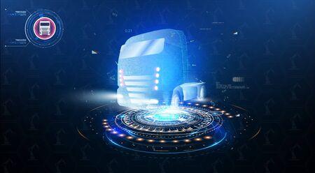 Autonomous smart truck. Unmanned vehicles. artificial intelligence controls the Autonomous truck. Hologram car style in HUD,UI,GUI. Truck. Abstract vector 3d heavy lorry van. Vector illustration Vektorové ilustrace