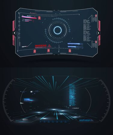 Futuristic VR Head-up Display Design. Future Technology Display Design. Vitrual Reality in HUD UI, hi-tech style. Panel system interactive, gaming indicator. Vector illustration
