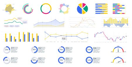 Modern infographic template with stock diagrams and statistics bars, line graphs and charts for finance report. Diagram template and chart graph, graphic information visualization vector illustration