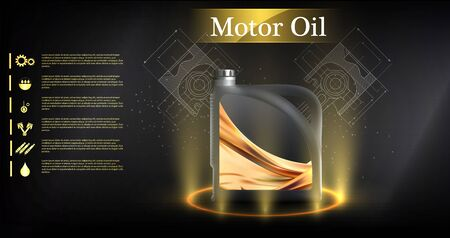Bottle engine oil on a background a motor-car piston, Technical illustrations. Realistic 3D vector image. canister ads template with brand logo Blueprints. Engine oil advertisement banner.