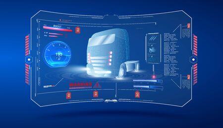 Autonomous smart truck. Unmanned vehicles. artificial intelligence controls the Autonomous truck. Hologram car style in HUD,UI,GUI. Hardware Diagnostics Condition of Car. Analysis and diagnostics auto Vettoriali