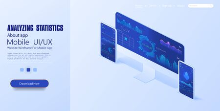 Graphic chart, business analytics concept, big data processing. Online statistics and data Analytics, mobile phone and pc applicetion for work, trading, server room isometric vector