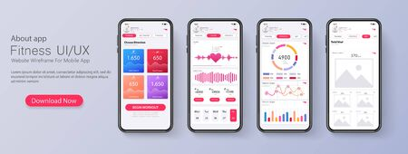 Different UI, UX, GUI screens fitness app and flat web icons for mobile apps, responsive website including. Web design and mobile template. Fitness interface design for mobile application. Vector illustration Vectores