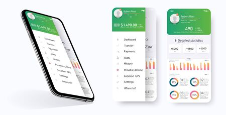 CRM application smartphone interface vector template. Mobile software page. Customer Relationship Management app screen. Flat UI, GUI. Statistics features for mobile apps and responsive website.Vector illustration Vectores