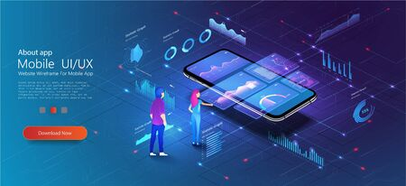 Man look graphic chart, business analytics concept UI, UX, Admin. Consulting team. Application of Smartphone with business graph and analytics data on isometric mobile phone. Vector illustration