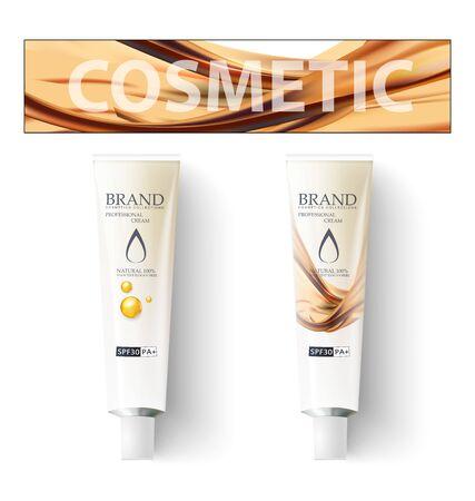 Makeup, cosmetics cream. Template for packaging design. Realistic tube. Sunblock tube lotion cream. Stock vector illustration