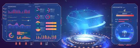 Futuristic car user interface. Hologram car style in HUD, UI GUI. Hardware Diagnostics Condition of Car. Virtual graphical interface UI GUI HUD auto scanning, analysis and diagnostics, speedometer. VR