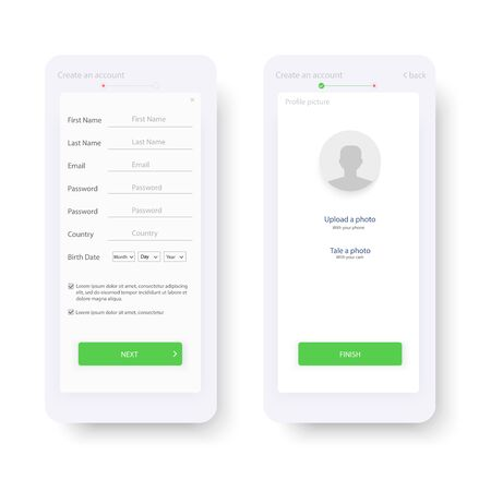 Web template and elements for registration on the website or mobile application. Account registration. Create new account. Signup screen. Notification screens. Registration form. Vector illustration