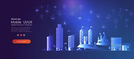 Smart city concept with different icon and elements.Thin line cityscape with skyscrapers. Line modern urban big city panorama with color building on background. Internet of things IoT . Industry icon