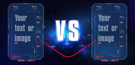VS Versus Blue and red Futuristic design. Battle headline template. Futuristic abstract technology background. Abstract digital and technological background. Vector illustration Vectores