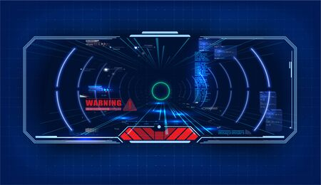 Futuristic Vector HUD Interface Screen Design. Sci-Fi Virtual Reality Technology View Display. Concept of future technology of entertainment, virtual reality. View from the cockpit spaceship. Vector illustration