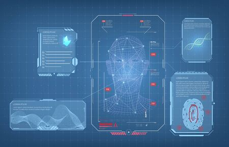 Biometric Identification or Recognition System of Person. The facial recognition technology Fingerprint, Voice.Recognition System Concept Authentication . Set HUD GUI UI Elements. Vector illustration