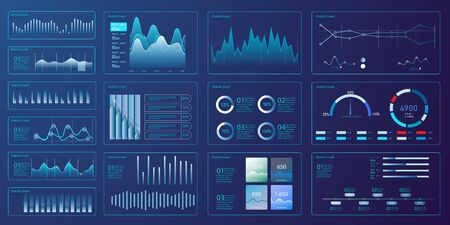 nfographic dashboard template with flat design graphs and pie charts Online statistics and data Analytics. Information Graphics elements for UI, UX, KIT design. Modern style web elements. Vectores