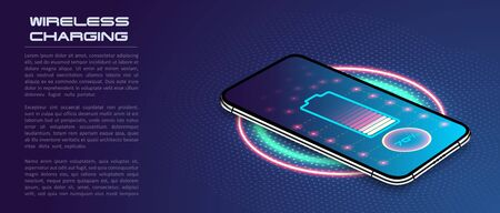 Wireless charging of the smartphone battery. Future concept. The progress of charging the battery of the phone.Wireless charging technology concept on blue background. Vector Illustration