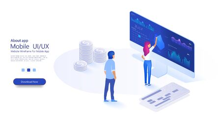Data analysis concept with characters. PC with business graph and analytics data. Online statistics and data Analytics. People interact with charts. Can use for web banner. Isometric illustration