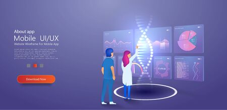 Analyzing DNA molecule. genetic Engineering and Genome modification. DNA nanotechnology biochemistry and human genome. Can use for web banner, infographics, hero images. Flat isometric vector