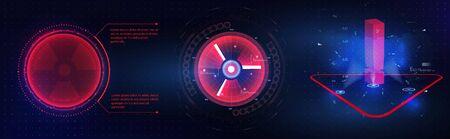 HUD GUI futuristic element. Set of Circle Abstract Digital Technology GUI Futuristic HUD Virtual Interface Elements Sci-Fi Modern User For Graphic Motion. Futuristic techno border design. Circle Frame