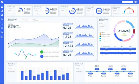 Dashboard, great design for any site purposes. Business infographic template. Vector flat illustration. Big data concept Dashboard user admin panel template design. Analytics admin dashboard.App UI UX