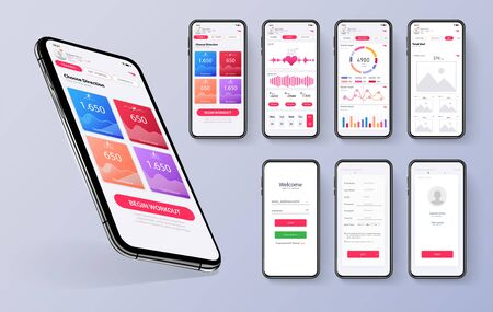 Different UI, UX, GUI screens fitness app and flat web icons for mobile apps, responsive website including. Web design and mobile template. Red trends design. Fitness Dashboard - stock vector Vectores