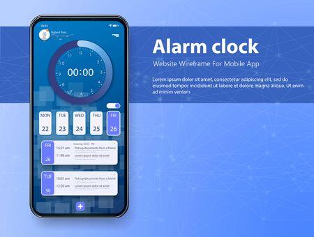 Alarm clock app smartphone interface vector template. Mobile get up application page blue design layout. Gradient flat UI for application. UX mobile design Pro timer