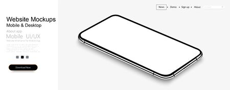 Smartphone frame less blank screen, rotated position. 3d isometric illustration cell phone. Smartphone perspective view. Template for infographics or presentation UI design interface. vector Vectores
