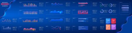 Infographic dashboard template with flat design graphs and pie charts Online statistics and data Analytics.