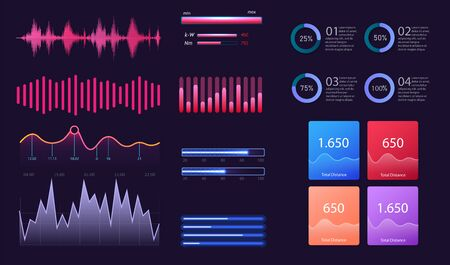 Dashboard infographic template with modern design annual statistics graphs. Information analysis for business, data in visual representation. Info charts schemes diagrams. Vector illustration Vectores