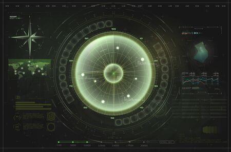 HUD, UI, GUI green interface element radar. Target detection on the radar screen.Blip. Futuristic design elements. Vector illustration
