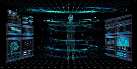 Display set of virtual interface elements. Modern medical examination HUD style. Human hologram, body x-ray,3D model. Medical Infographic, statistics and diagrams. Body Scanning Sci fi, GUI, UI.Vector illustration