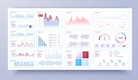 Infographic dashboard template with flat design graphs and pie charts Online statistics and data Analytics. Information Graphics elements for UI, UX, KIT design. Modern style web elements. Admin