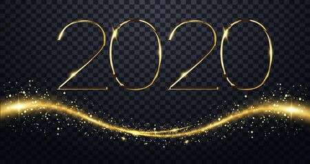 NYE New Year Eve 2020. Happy New Year 2020 winter holiday greeting card design template. Party poster, banner or invitation gold glittering stars confetti glitter decoration. vector illustration Vectores