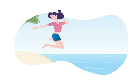 Young girl jumping into the water. Flat design concept for web and social media banner, background, summer card template, travel and holiday ads, advertising material. Summer vector illustration.