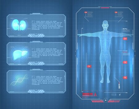 Futuristic user interface and Infographic Elements . Medical Infographic lungs, liver and DNA human Body Scanning Sci fi, Ui, HUD elements . Modern medical examination HUD style. Human body scan. Vectores