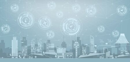 Smart city concept with different icon and elements.Thin line cityscape with skyscrapers. Line modern urban big city panorama with color building on background. Internet of things IoT . Vectores