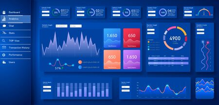 Dashboard, great design for any site purposes. Business infographic template. Vector flat illustration. Big data concept Dashboard UI, UX user admin panel template design