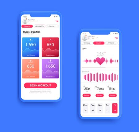 Different UI, UX, GUI screens fitnes app and flat web icons for mobile apps, Fitness application design. Mock up Mobile app. Vector template. Vectores