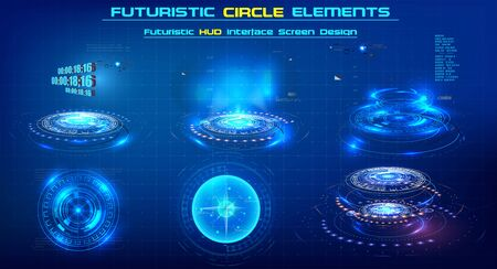 Elements Sci-Fi Modern circle For Graphic Motion. Futuristic technology circle shapes HUD elements. Abstract Set. Circular Design Element. Set of elements for video or illustrations of the future. Vectores