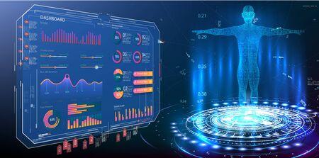 HUD, GUI, UI, dashboard element ui medical examination. Display set of virtual interface elements. Modern medical examination style. Body hologram. Data monitors, statistics and diagrams, infographic Vectores