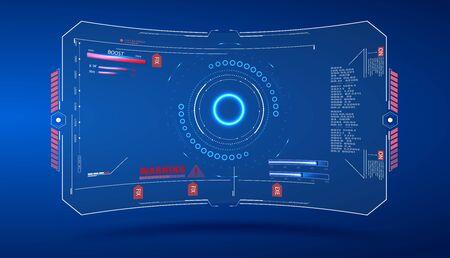 Virtual reality. Futuristic VR Head-up Display Design. HUD Display. Digital user interface screen. Futuristic military aim. Military radar screen dashboard. Interactive target capture system. Vector illustration