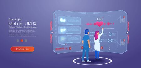 Man, the girl, the doctor looking at the dashboard, futuristic interface hud. Diagnosis of diseases, medical tests, effective treatment. Dashboard with patient health information. Vector illustration Vectores