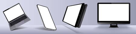 Set realistic of modern devices mockups with blank frameless screens monitor, laptop, tablet, smartphone. Template for infographics or presentation. Vector illustration Vectores