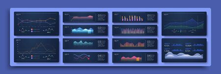 Modern infographic template with statistics graphs. Set of different graphs and charts. Infographics and diagnostics, charts and schemes vector. Business charts and graphs elements. Vector illustration