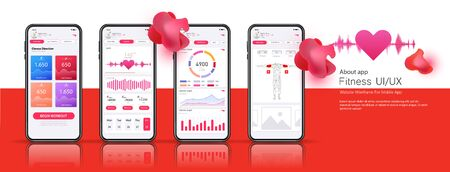 Different UI, UX, GUI screens mobile fitness app and flat web icons. Menu, dashboard, data analysis, selection of training program, view results. App for fitness. Concept interface design of apps.