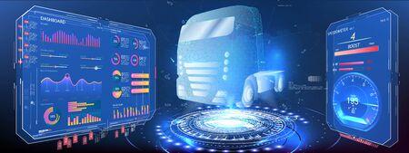 Autonomous smart truck. Unmanned vehicles. artificial intelligence controls the Autonomous truck. Hologram car style in HUD UI GUI. Hardware Diagnostics Condition of Car. Analysis and diagnostics auto