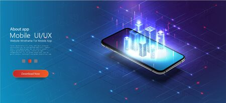 Smart city or intelligent building isometric vector concept IOT. Digital hologram of smart city on the screen of smartphone with Internet of things. Polygonal wireframe building.Vector illustration Vectores