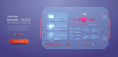 HUD UI for medical app. Futuristic user interface HUD and Infographic elements. Abstract virtual graphic touch user interface. Medical health care, human organs, virtual body hi tech diagnostic panel.