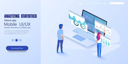 Online statistics and data Analytics. Digital money market. Expert team for Data Analysis, Business Statistics, Management, Consulting, Marketing. Landing page template concept. Vector illustration