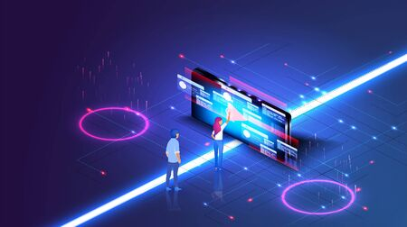 Modern isometric design concept of Online Education for website in modern blue style. Data information blocks, projected hi tech data, technology. Vectores
